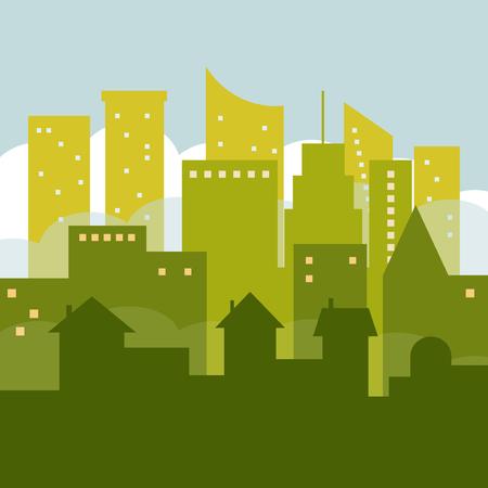 Abstrakte grüne Stadt mit Skylines und Häuser. Standard-Bild - 75475786