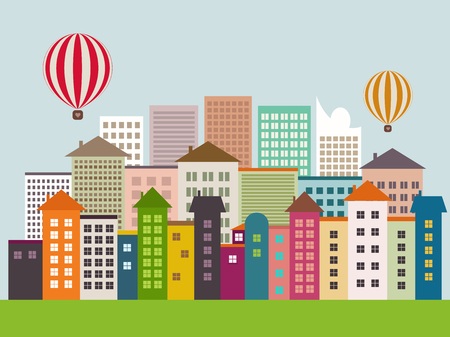 Abstract Eco City With Colorful Buildings, Blue Sky And Hot Air Balloons. Future Healthy Living Concept