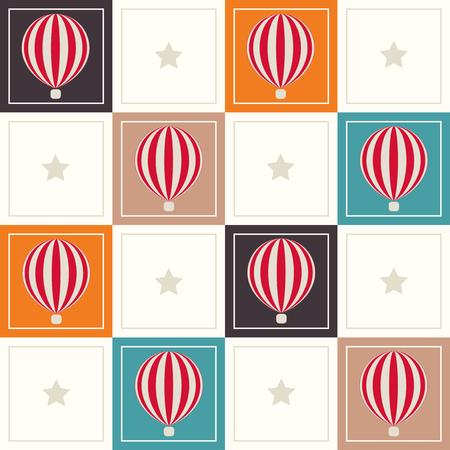 Abstrakt Geometrische Muster Hintergrund Mit bunten Quadraten, zarte Heißluft Ballons und Sterne Standard-Bild - 80034109