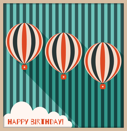 Abstract Happy Birthday Card With Hot Air Balloons, Background Made Of Old Blue Stripes And Cloud With Message Illustration