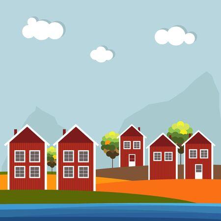 Rote und weiße hölzerne skandinavische Häuser. Herbst Thema Standard-Bild - 80034548