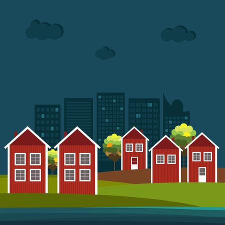 Abstrakte hölzerne skandinavische rote und weiße Häuser mit Meer und modernen Gebäuden. Nacht Thema. Standard-Bild - 80034549