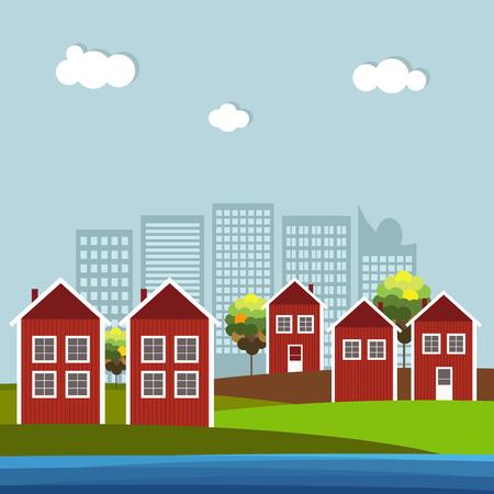Rote und weiße hölzerne skandinavische Häuser, Skylines Hintergrund Standard-Bild - 80034540