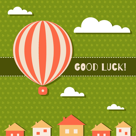 farewell party: Abstract Good Luck Card With Hot Air Balloon, Clouds, Houses And Three Leaf Clovers Pattern Background Illustration