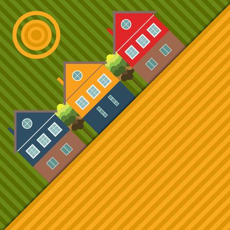 Fond abstrait avec des maisons et des champs colorés