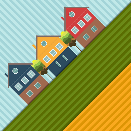 Abstract Background With Colorful Houses And Fields