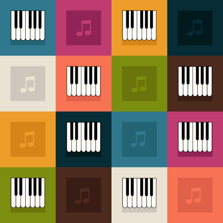 Abstract Pattern With Colorful Squares, Piano And Notes Standard-Bild - 118200420