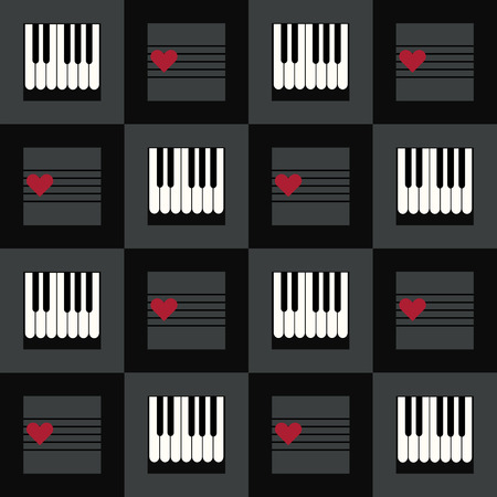 Abstract Geometric Pattern Background With Suqares, Piano And Red Hearts Standard-Bild - 118200421