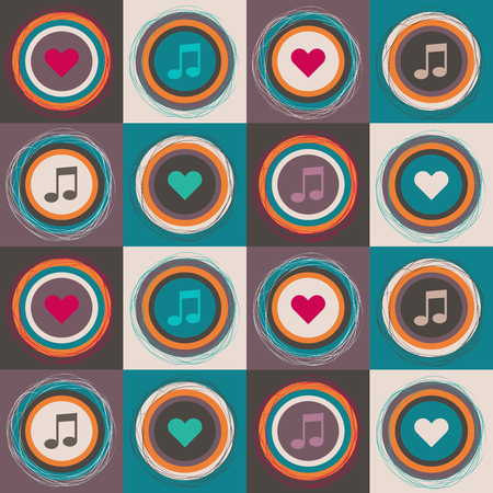 Abstract Geometric Pattern Background With Colorful Suqares, Notes, Circles Standard-Bild - 118200423