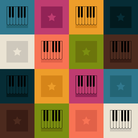 Abstract Pattern With Colorful Squares, Piano And Stars Standard-Bild - 118200426