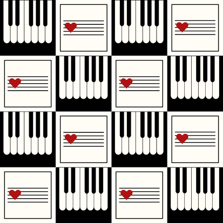 Abstract Geometric Pattern With Piano And Hearts Standard-Bild - 118200427