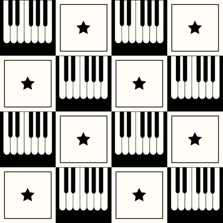 Abstract Geometric Pattern Background With Piano And Stars Standard-Bild - 118200431