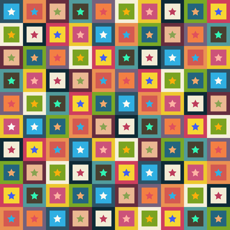 Abstract Pattern Background With Colorful Squares And Stars Standard-Bild - 118200428