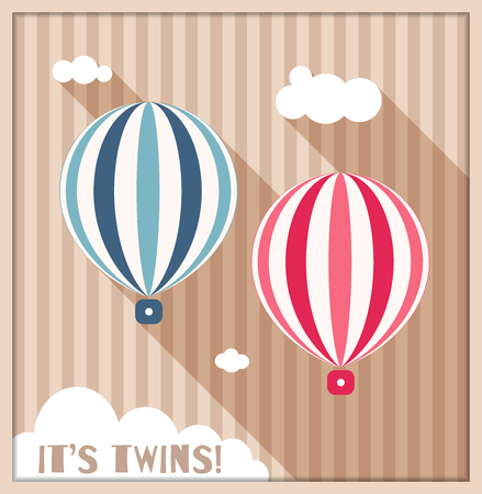It's Twins Baby Shower Card With Pink And Blue Balloons, Clouds And Stripes 向量圖像