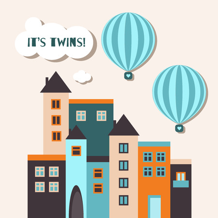 It's Twins Baby Shower Card. Twin Boys With Hot Air Balloons And Houses