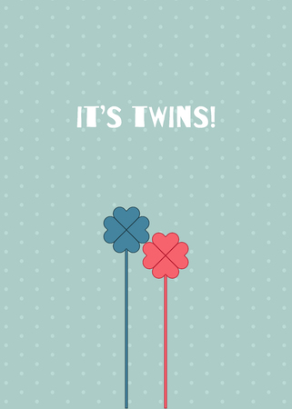Its Twins Baby Shower Card. A Boy And A Girl