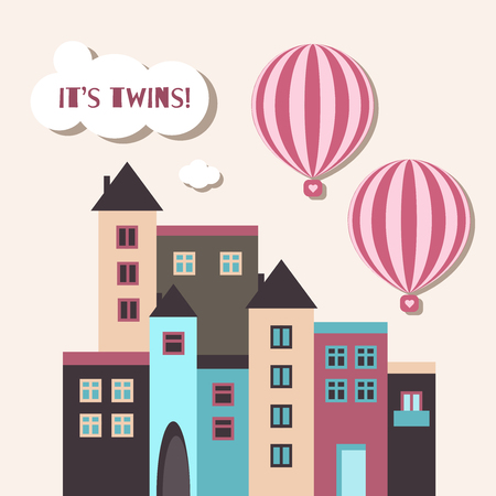 It's Twins Baby Shower Card. Girls With Hot Air Balloons 向量圖像
