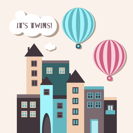 It's Twins Baby Shower Card With Pink And Blue Hot Air Balloons And Houses Standard-Bild - 118200439