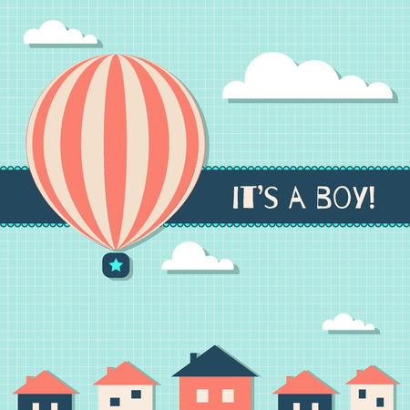 It's A Boy Baby Shower Card Standard-Bild - 118200470
