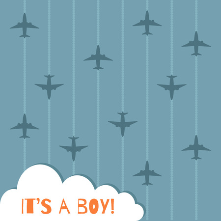 It's A Boy Baby Showe Card With Airplanes, Clouds