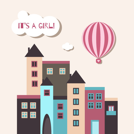 It's A Girl Baby Shower Card With Pink Hot Air Balloon And Houses Standard-Bild - 118200476