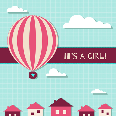 It's A Girl Baby Shower Card Standard-Bild - 118200478