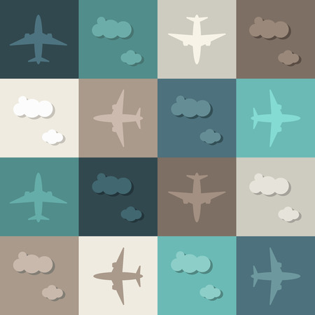 Abstract Geometric Pattern Background With Airplanes And Clouds Standard-Bild - 118200482