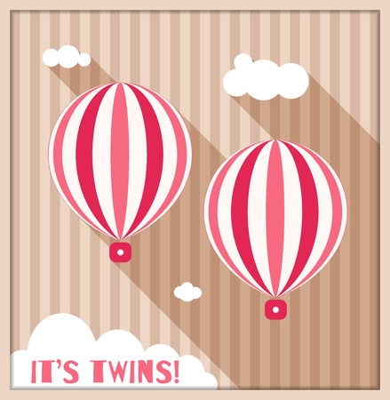 It's Twins. Baby Shower Card With Pink Hot Air Ballons, Clouds And Stripes Standard-Bild - 118200495