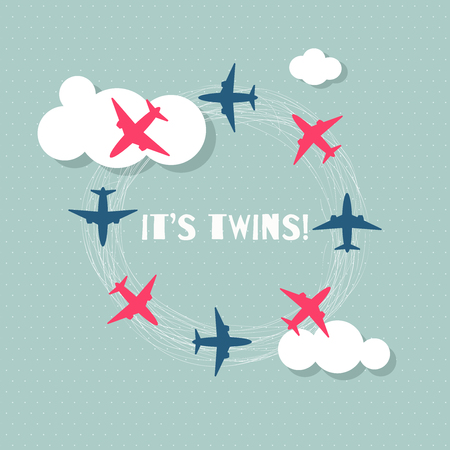 It's Twins Baby Shower Card With Pink And Blue Airplanes, Clouds Standard-Bild - 118200497