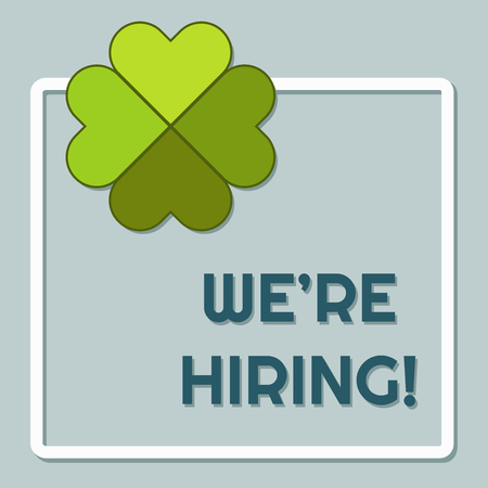 We Are Hiring Announcement WIth Four Leaf Clover Standard-Bild - 118200563