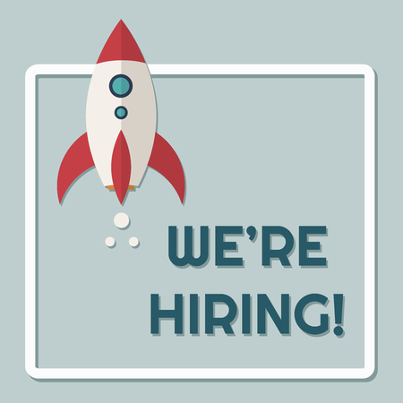 We're Hiring Announcement With Rocket 向量圖像