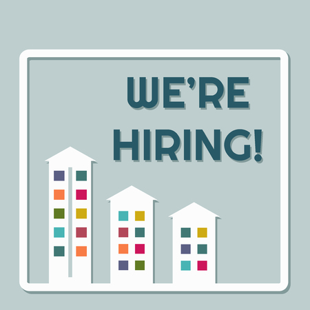 We're Hiring Message With Colorful Buildings 向量圖像