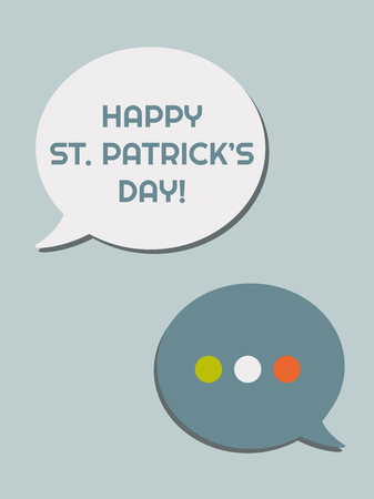 Happy St. Patricks's Day Abstract Greeting Card With Speech Bubbles Standard-Bild - 118200566