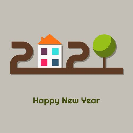 Happy New Year 2020 Abstract Real Estate Greeting Card With Colorful House And Tree. Go Green Concept