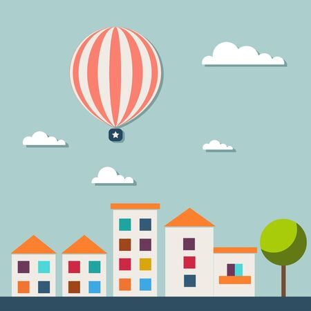 Real Estate Card With Colorful Houses, Clouds, Hot Air Balloon Stock Illustratie