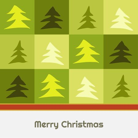 Merry Christmas Abstract Card With Green Squares And Trees Иллюстрация