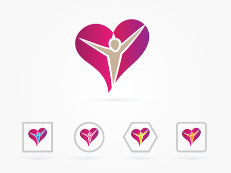 Vector illustration Heart people care logo