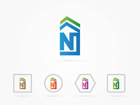 rural development: Vector Illustration Roof House N Symbol for icon business logo Illustration