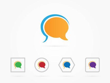 Illustration Speech bubbles icon design colorful for website icon or presentation Stock Photo
