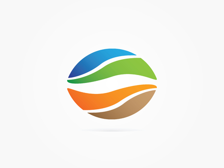 Vector Illustration unity of sky mountain land earch concept icon you can use for Business website or app icon