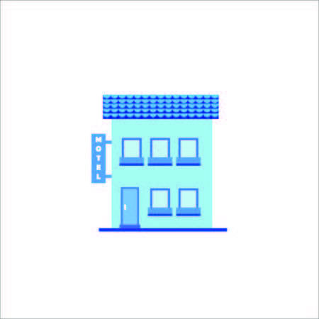 garage on house: Flat design of motel and modern city houses. Old buildings, skyscrapers. colorful cottage building, cafe house. Illustration