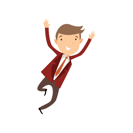 Flat style modern business Employees in dark red blazer clothes. Vector icon set. Smile Men lifestyle icon. Illustration