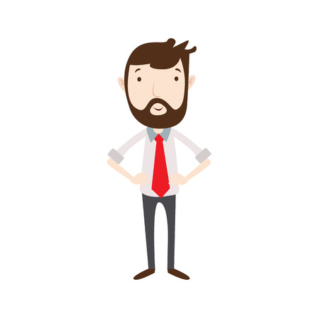 work clothes: Flat style modern business beard employees in casual clothes. Vector icon set. Smile Men lifestyle icon.