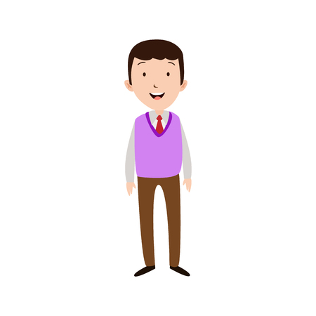 Flat style modern business Employees in purpple blazer clothes. Vector icon set. Smile Men lifestyle icon. Illustration