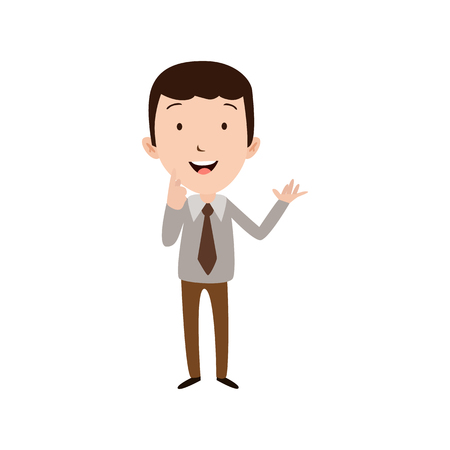 Flat style modern business Employees in grey blazer clothes. Vector icon set. Smile Men lifestyle icon.