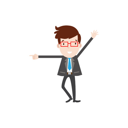 teamwork cartoon: Flat style modern business employees with red glaesses in dark grey blazer clothes. Vector icon set. Happy Men lifestyle icon.