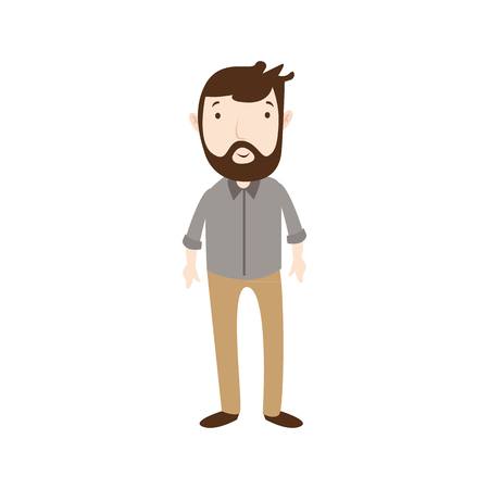 Flat style modern business beard employees in casual clothes. Vector icon set. Smile Men lifestyle icon.