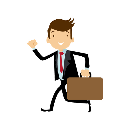 Flat style modern business Employees run in dark blue blazer clothes. Vector icon set. Smile Men lifestyle icon.