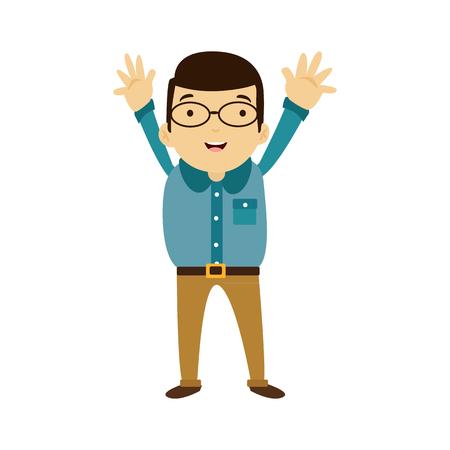 Negocio moderno del estilo plano Empleados con glaesses en ropa casual verde. Conjunto de iconos de vector. Sonrisa icono de estilo de vida de los hombres. Foto de archivo - 82265941