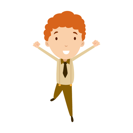 Flat style modern business Employees with red hair in brown casual clothes. Vector icon set. Smile Men lifestyle icon. Illustration